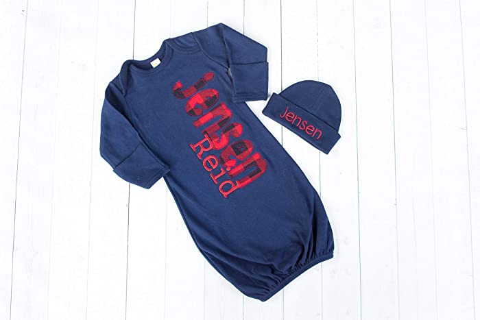 2417bb39bd31 New Baby Boy Navy Personalized Gown by Thready Teddy Embroidery - Lumber  Jack Coming Home Outfit - Buffalo Plaid Baby Shower Gift - Custom Name  Jammies ...