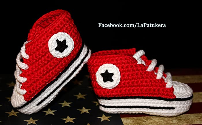 0c3da765eee34c Image Unavailable. Image not available for. Colour  Baby booties. Crochet  Unisex Converse style. 100% cotton. Sizes from 0 to
