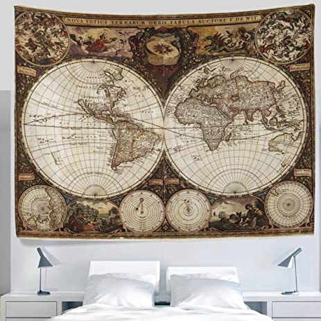 Amazon alaza antique old fashioned retro vintage world map alaza antique old fashioned retro vintage world map tapestry wall hanging decor light weight gumiabroncs Choice Image