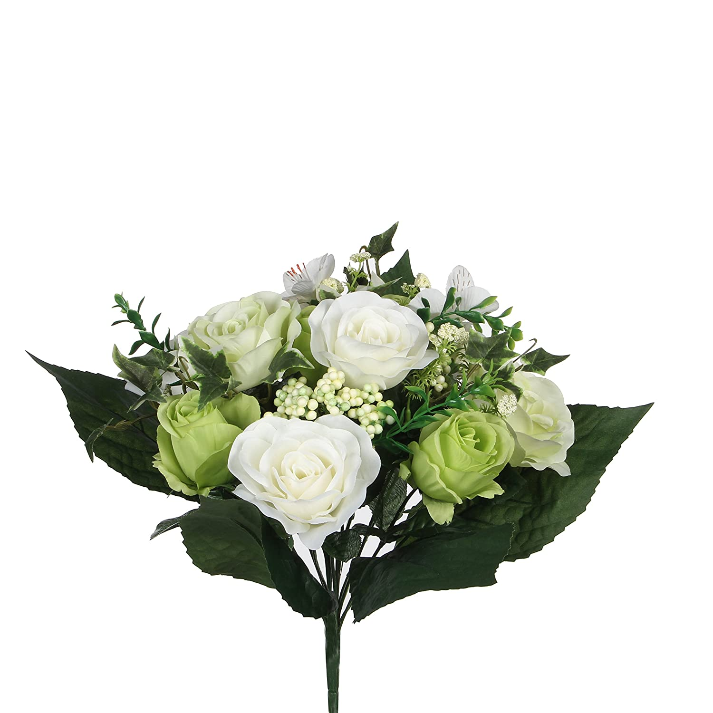 Mica Decorations 1026590Rose Bouquet in Green Mix–L33cm Bouquet Green 24x 24x 33cm Edelman