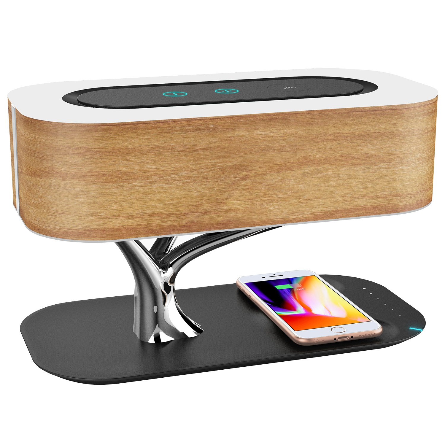 Ampulla Light of Tree Lamp with Bluetooth Speaker and Wireless Charger, Sleep Mode Stepless Dimming by Ampulla