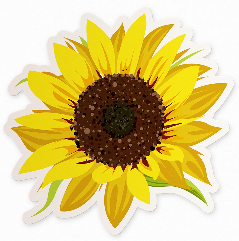 "Sunflower Floral Sticker - 4"" Floral Decal"