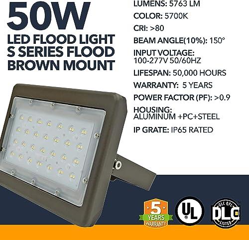 LED DLC Flood Light – LED S-Series Outdoor Flood Mount Light Office Premise Lights, High Lumens – Commercial or Residential Grade Area Security Flood Light – 5 Year Warranty 50