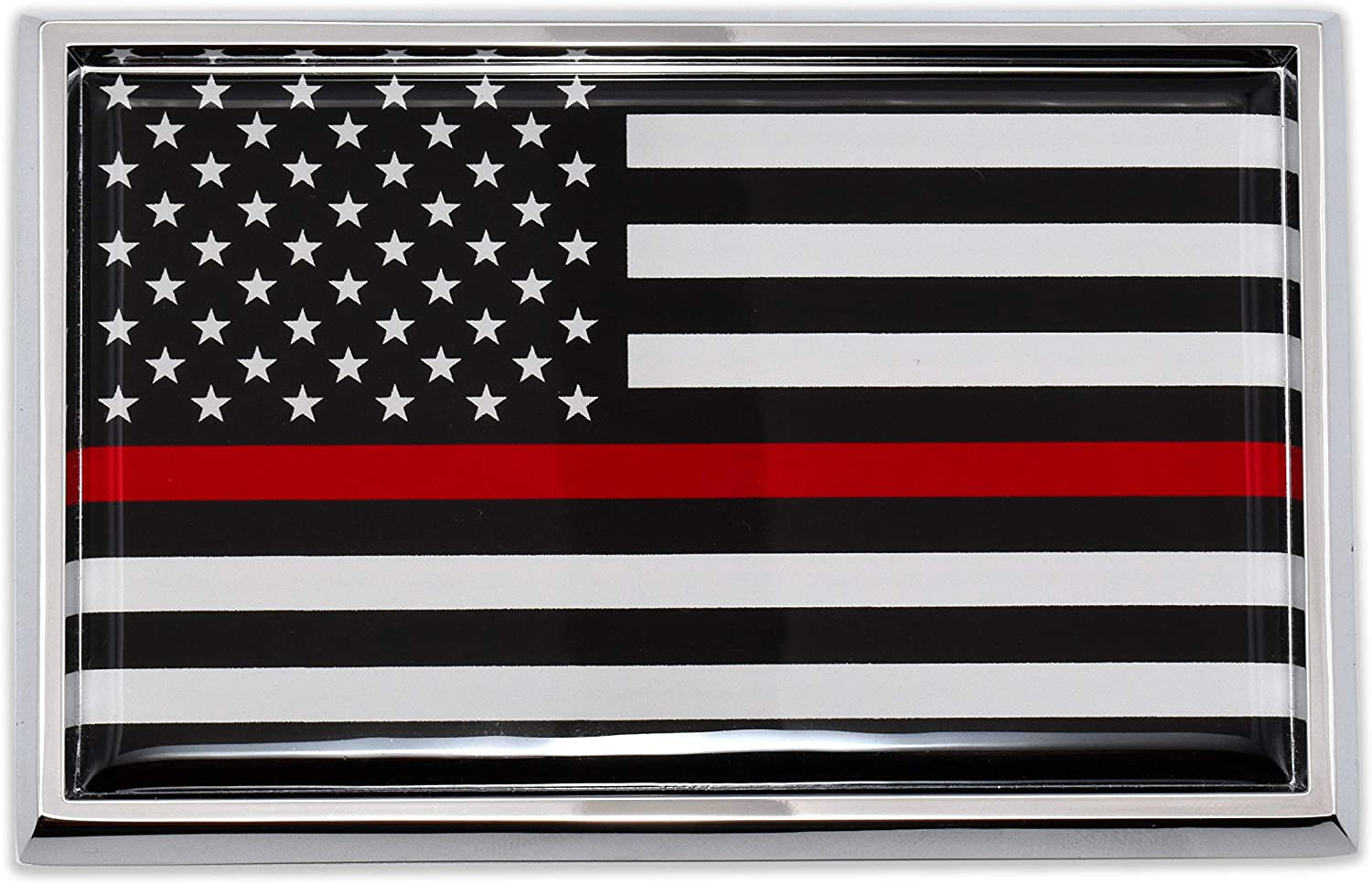 Firefighter Thin Red Line Flag Chrome Auto Emblem