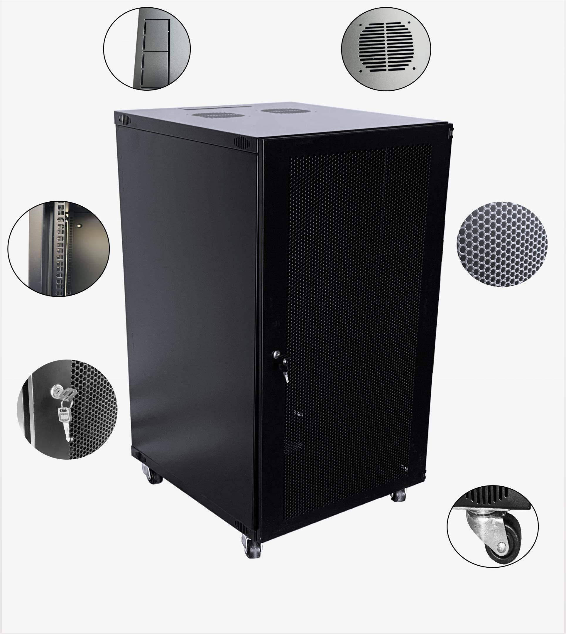22U Wall Mount Network Server Cabinet Rack Enclosure Door Lock 600MM Deep