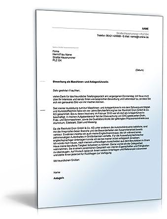Anschreiben Bewerbung Maschinen Und Anlagenführer Word Dokument