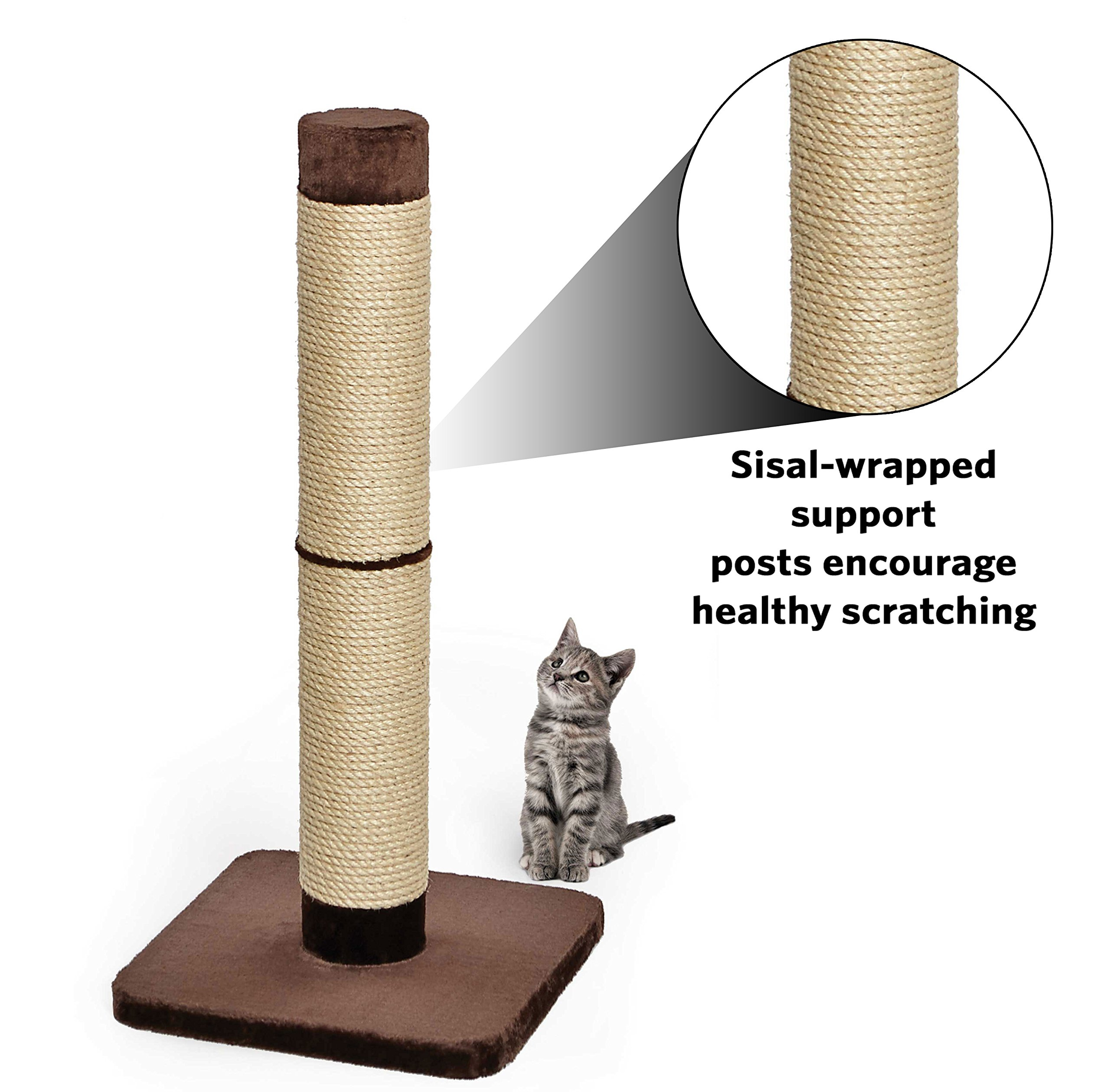 Cat Scratching Post | ''Forte'' Huge Cat Scratching Post w/ Extra-Durable Sisal Wrap, Brown & Tan, Giant XXL Cat Post