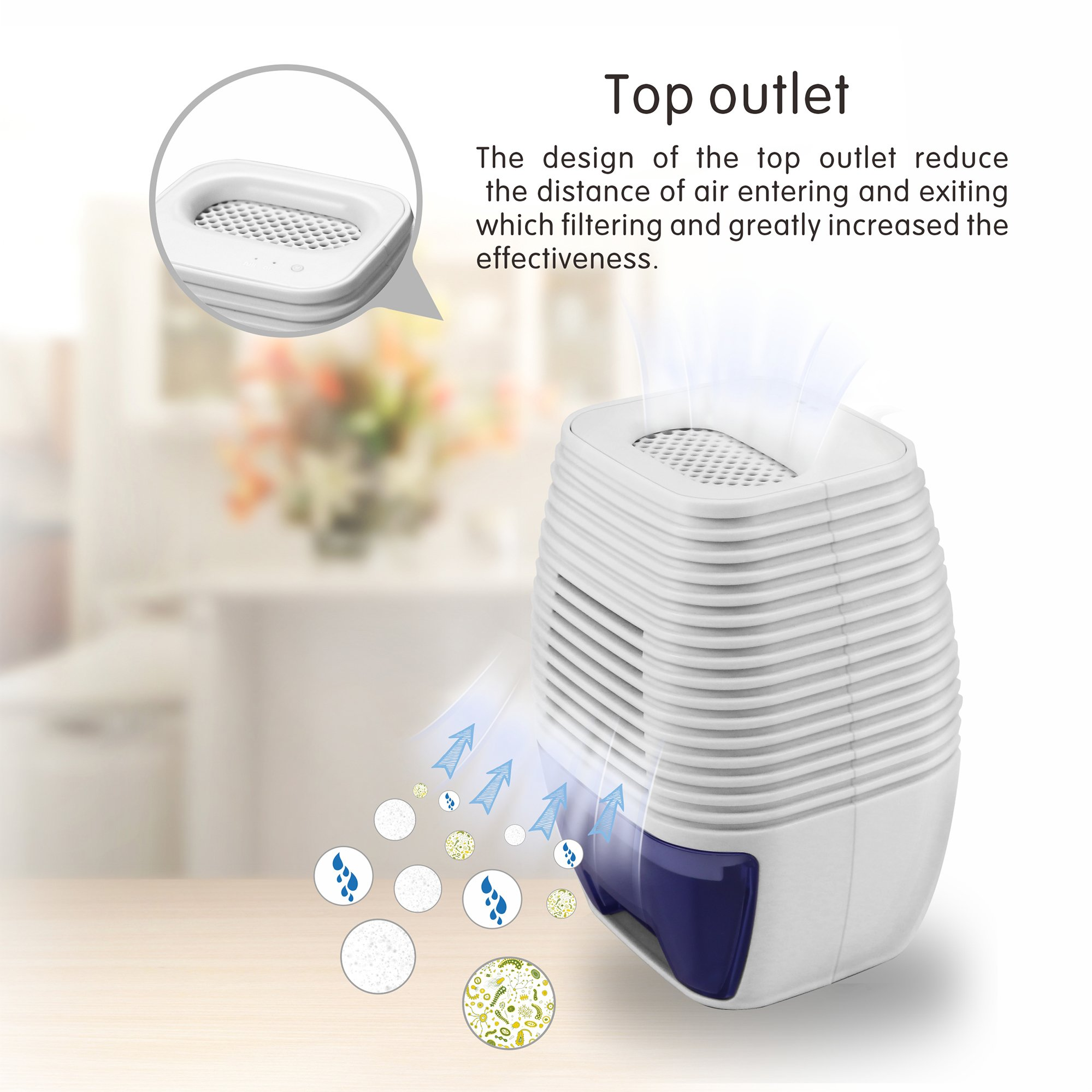 Afloia Mini Dehumidifier USB Plug Quiet Small Dehumidifier 300ml Electric Dehumidifier for Closets or Wardrobe