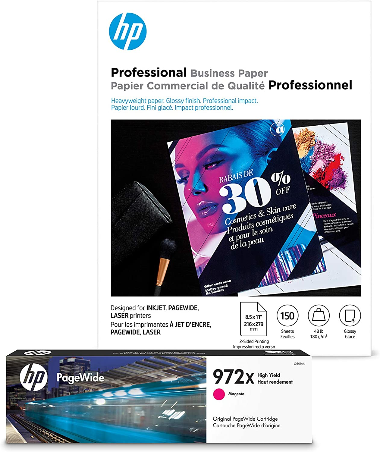 HP 972X Magenta High Yield Ink + HP Professional Brochure Paper, Inkjet, 8.5 x 11, 150 sheets, Glossy