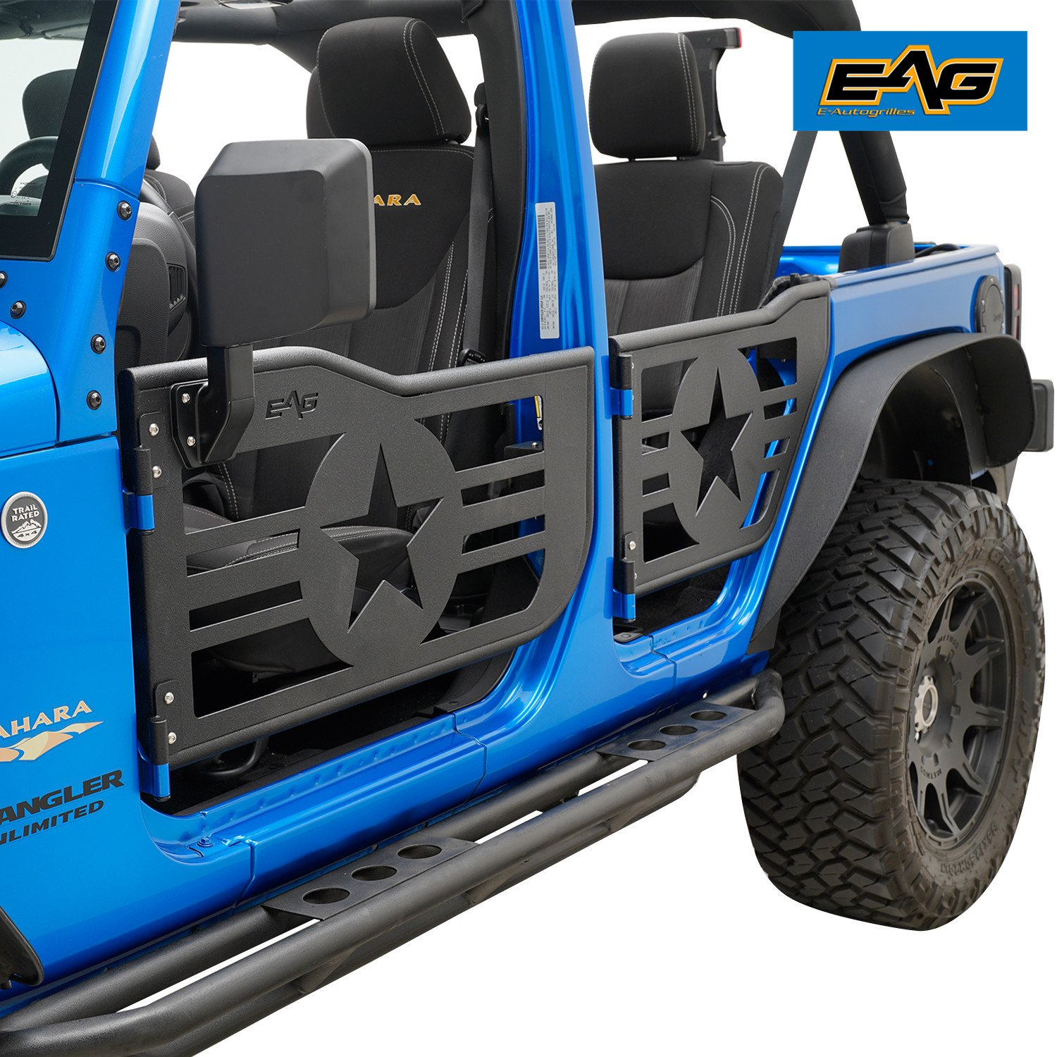 EAG Military Star Tubular 4 Door With Side View Mirrors for 07-18 Jeep Wrangler JK 4 Door Only