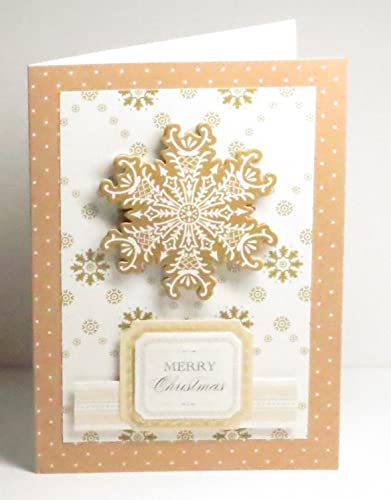 Anna Griffin Christmas Cards.Amazon Com Handmade 3d Anna Griffin White Light Brown Merry