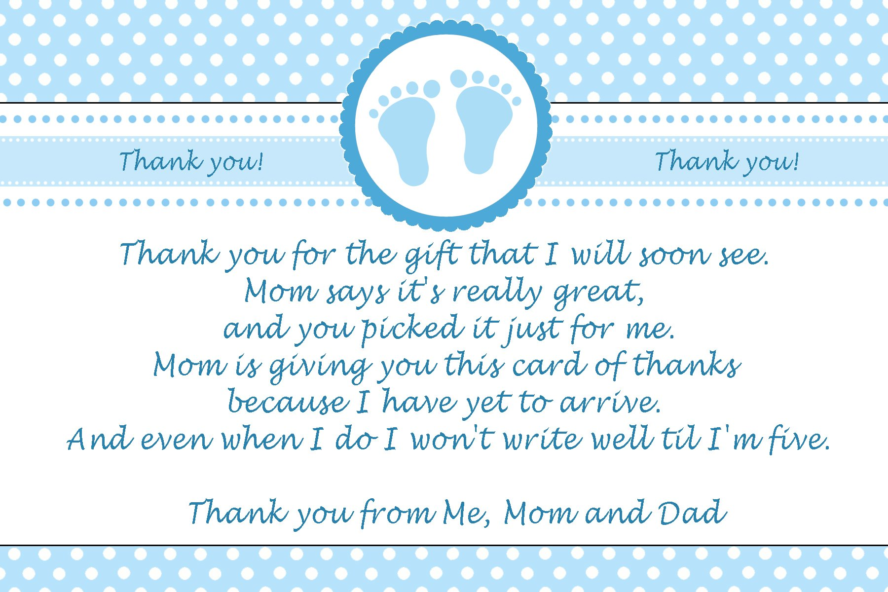 30 Thank You Cards Blue Polka Dots Baby Boy Shower + 30 White Envelopes