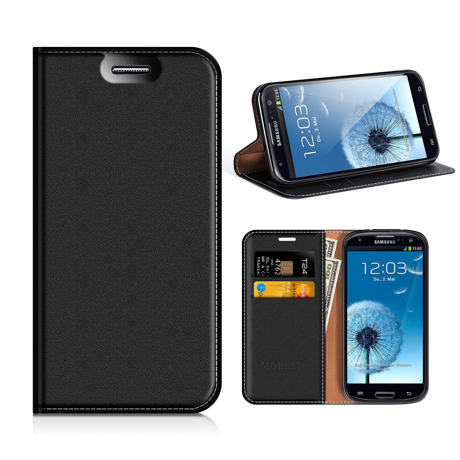 various colors 6edb1 a5fe7 Amazon.com: Samsung Galaxy S3 Wallet Case, Mobesv Samsung S3 Leather ...