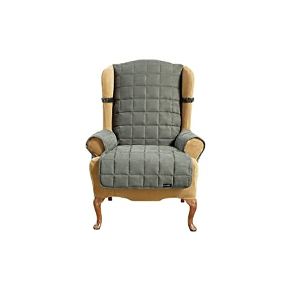Sensational Sure Fit Soft Suede Waterproof Wing Chair Slipcover Loden Sf40907 Gmtry Best Dining Table And Chair Ideas Images Gmtryco
