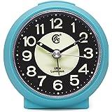 JCC charmante leuchtende kleine runde Handheld Größe nicht ticking Quarz Schreibtisch Uhr Wecker Reisewecker mit Licht Nacht, Snooze Funktion - batteriebetrieben (matt - blau)