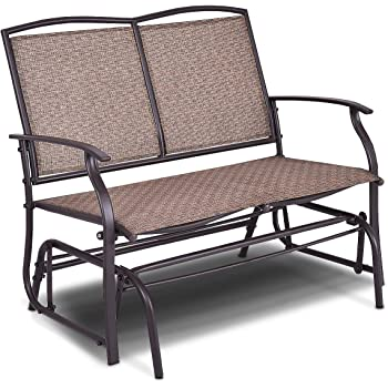 Giantex Patio Glider Bench Outdoor, Swing Loveseat, Patio Swing Rocker  Lounge Glider Chair