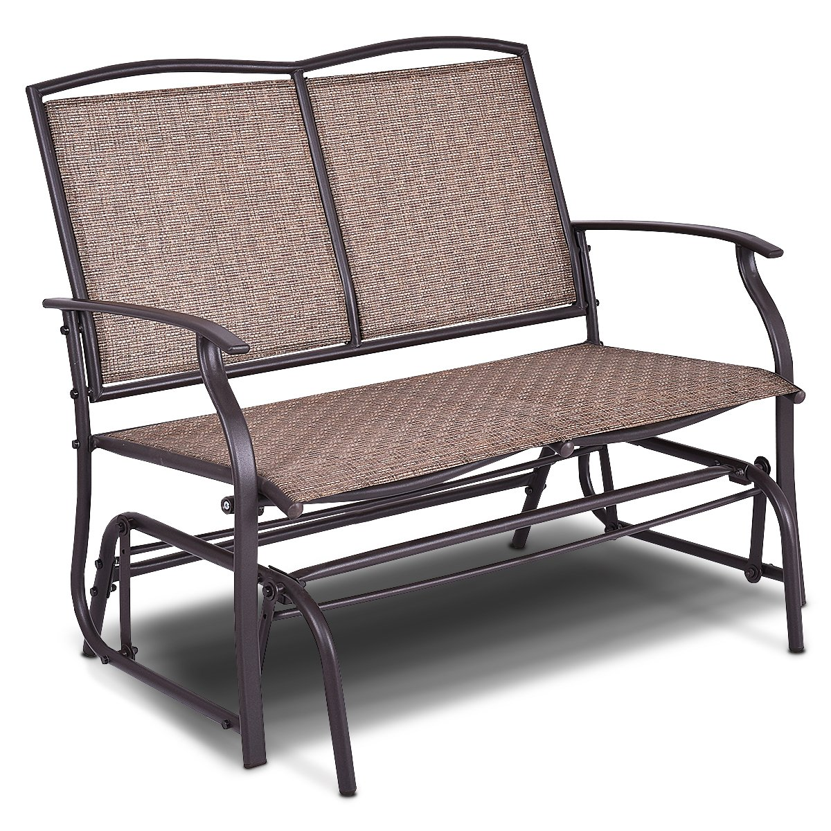 Giantex Patio Glider Bench Outdoor, Swing Loveseat, Patio Swing Rocker Lounge Glider Chair