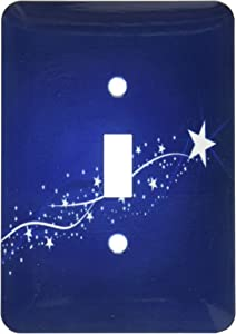 3dRose lsp_152863_1 Pretty White Shooting Star on a Blue Background Light Switch Cover