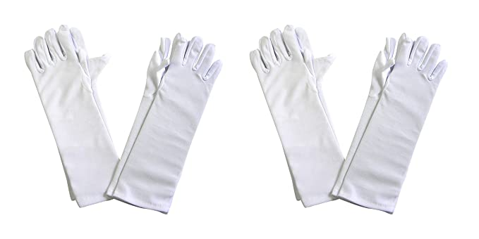 Amazon.com: Girls Tea Party Stretch Polyester Long Dress Gloves ...