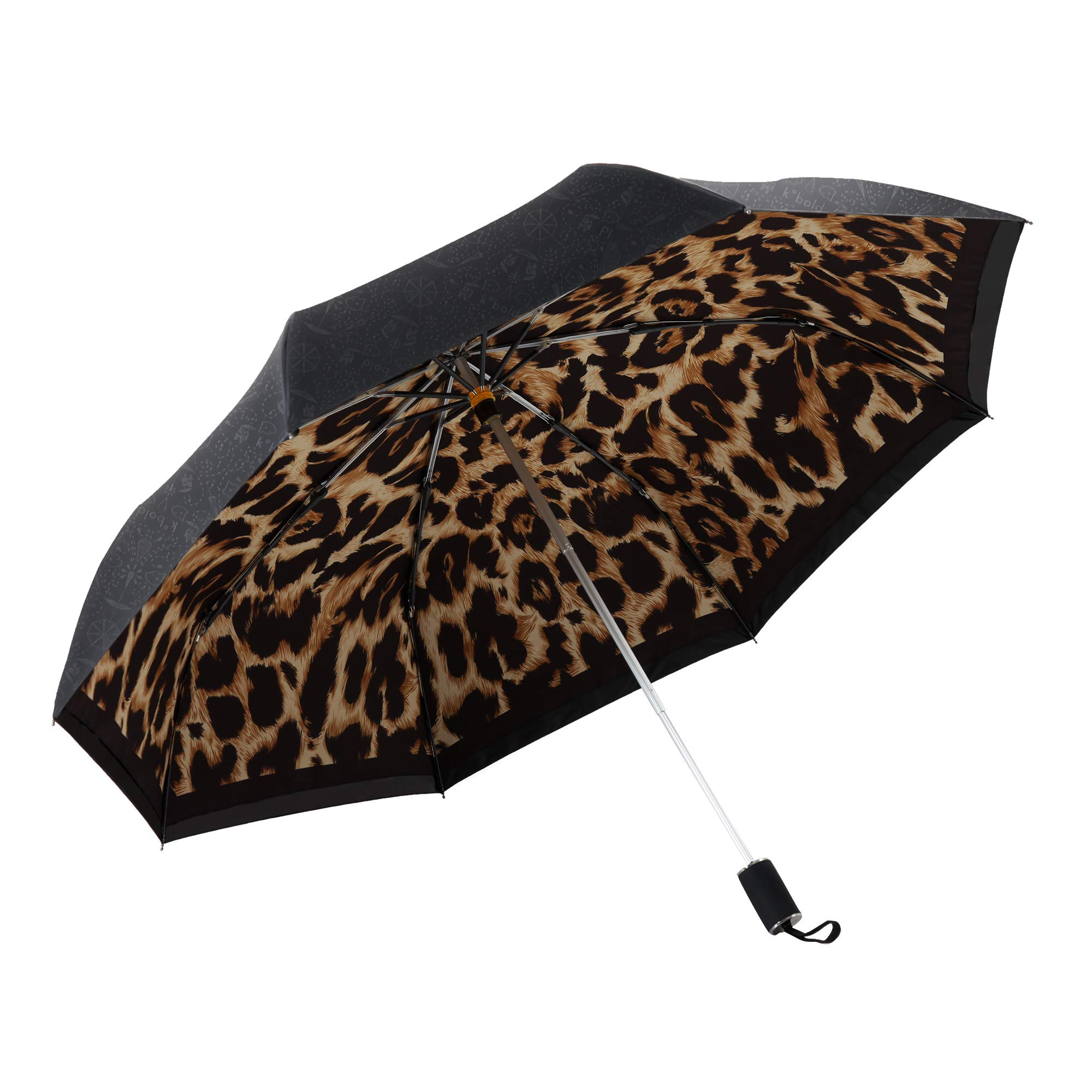 Kobold Silica Gel Handle Leopard Pattern Double Layers Canopy Parasol Umbrella Windproof Travel Compact UV Protection Umbrellas for Women Lightweight