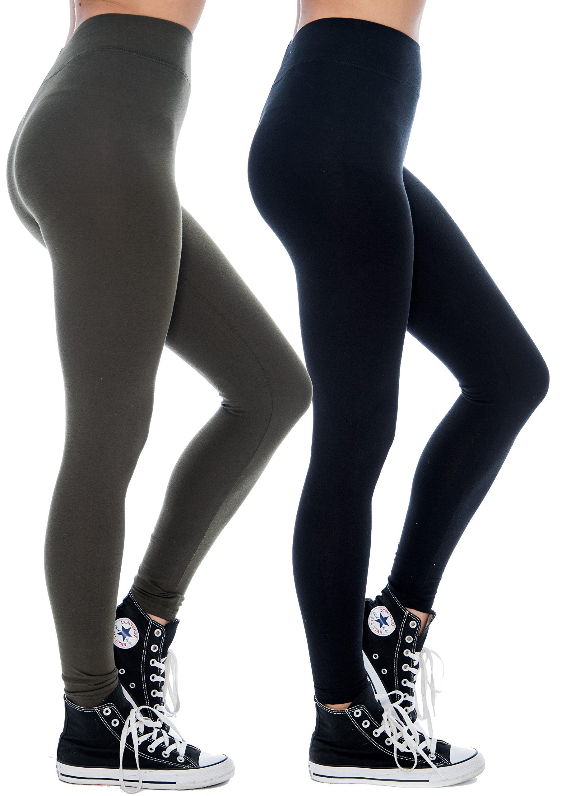 Unique Styles Cotton Leggings for Women Breathable Soft Active Yoga Pants (Small, Black/Olive)