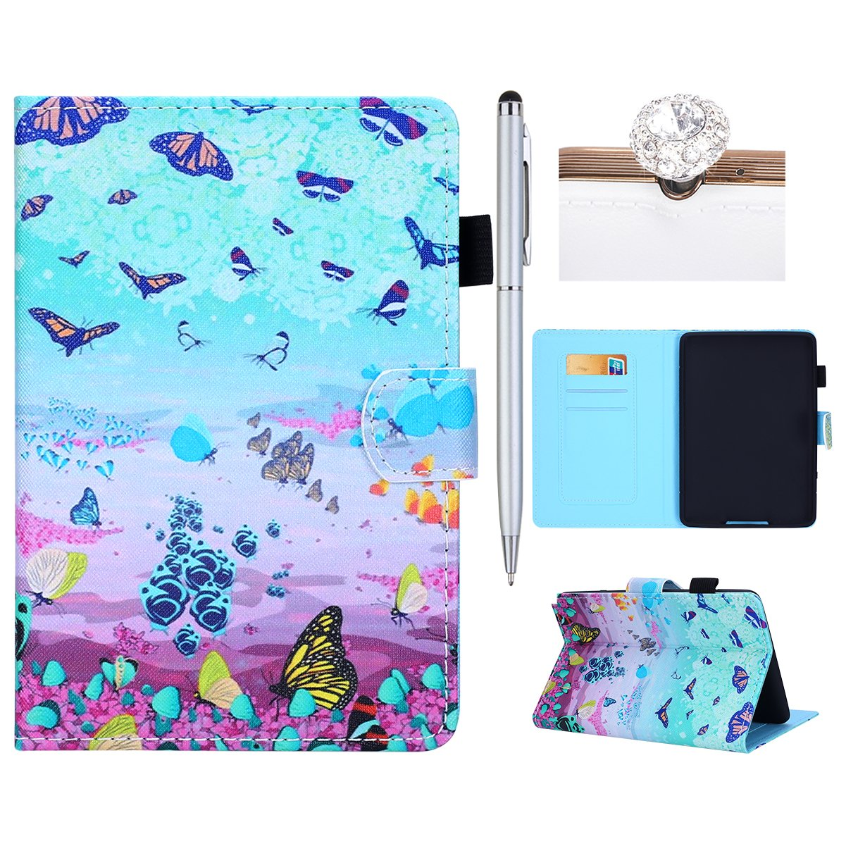 Felfy Kindle Paperwhite1/2/3 Case Leather, Cover for Kindle Paperwhite1/2/3,Premium Leather Ultra Thin Lightweight Flower and Cute Cartoon Pattern Series Cover Case, Wallet Flip Cover with Magnetic Closure Stand Function Kickstand Folding Shell Card Slots
