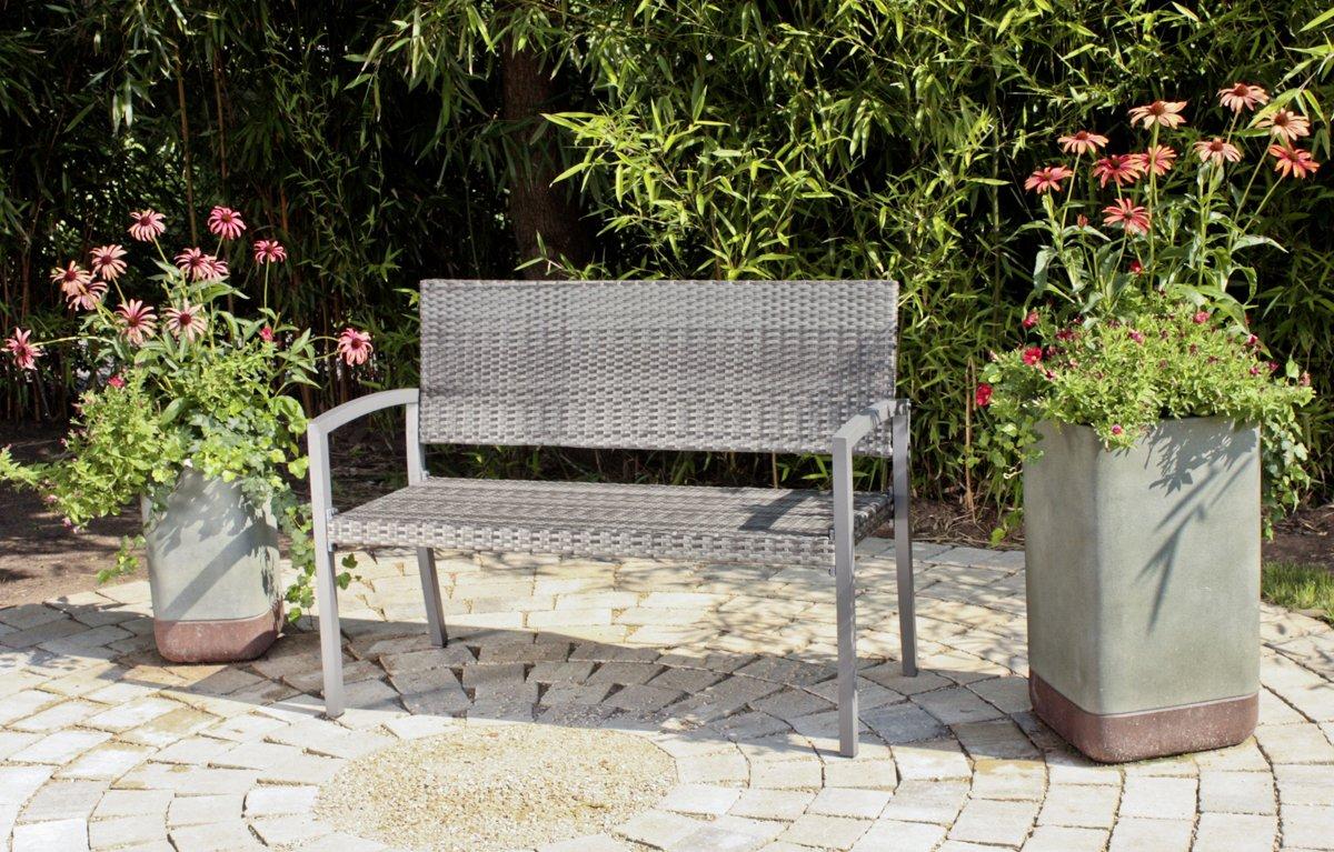 Gartenbank Parkbank Sitzbank 2-Sitzer aus Kunststoffgeflecht und Aluminium in dunkelgrau