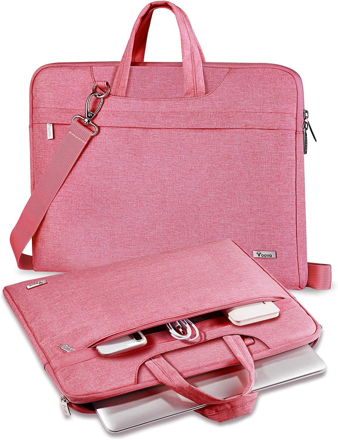 "V Voova Laptop Case 14 15 15.6 inch Laptop Messenger Bag With Shoulder Strap Compatible for 16"" New MacBook Pro,Surface Laptop 3,Acer Aspire 5,HP 15.6,XPS 15 Chromebook Sleeve for Women Lady,Pink"