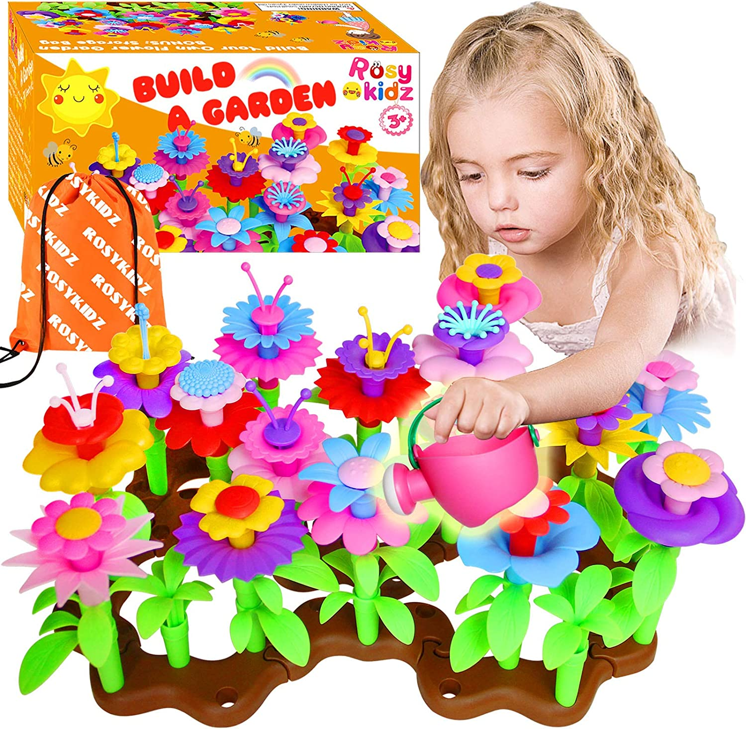 ROSYKIDZ Flower Garden Building Toys for Girls - [ 106 PCS ] STEM Toy Gardening Pretend Play Gift for Kids Age 3 4 5 6 Years Old - Preschool Children Girl Gifts Toys Set with Storage Bag