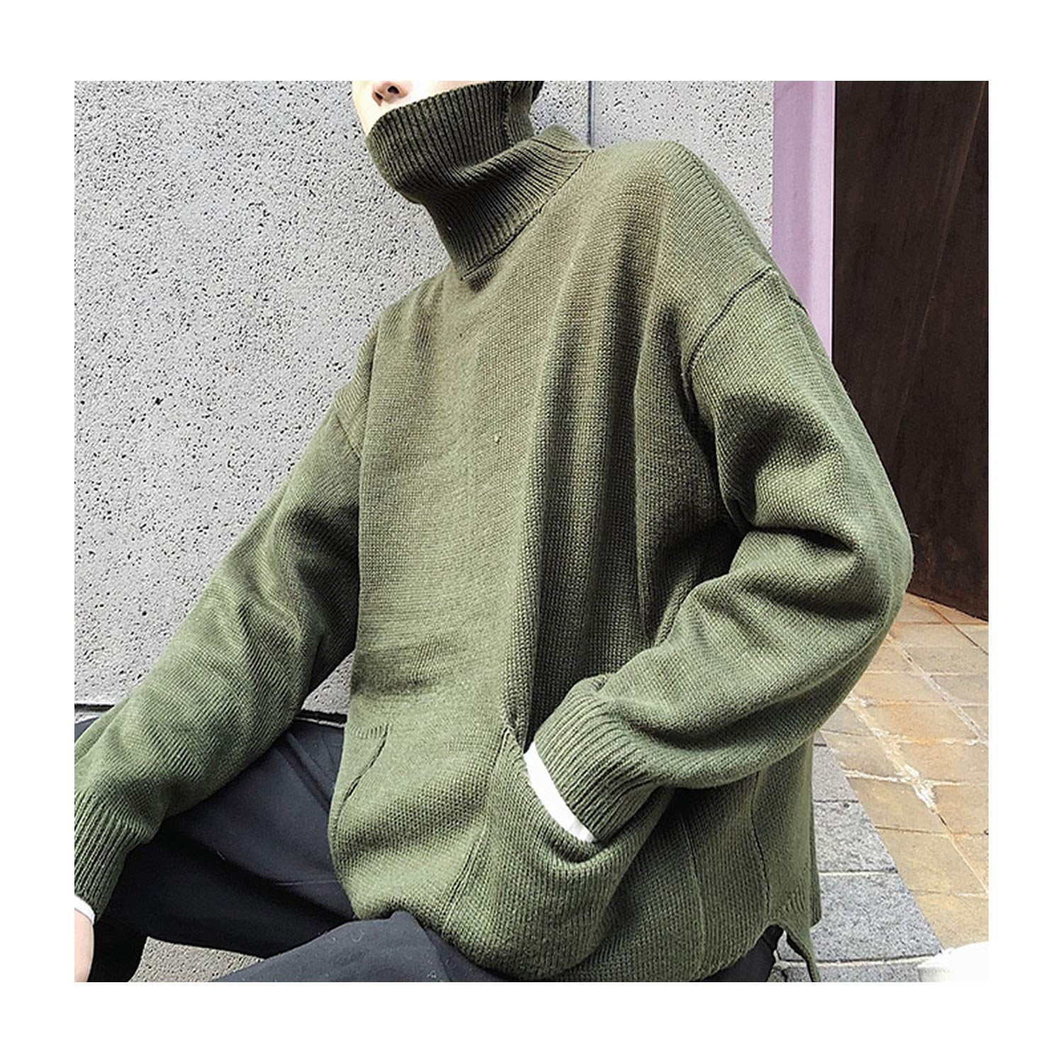2018 Autumn and Winter High Collar Double Pocket Sweater Solid Color Casual Pullover White//Black Army Green Blue//Red
