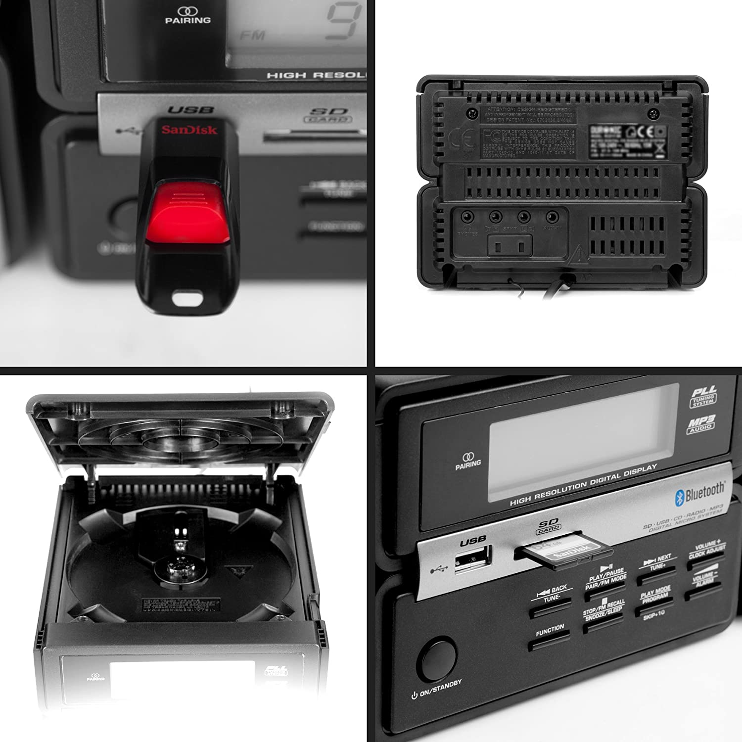 Duronic RCD111//BK Micro Hi-Fi Bluetooth Audio System with CD//MP3 CD//USB//FM Radio//SD//AUX Black