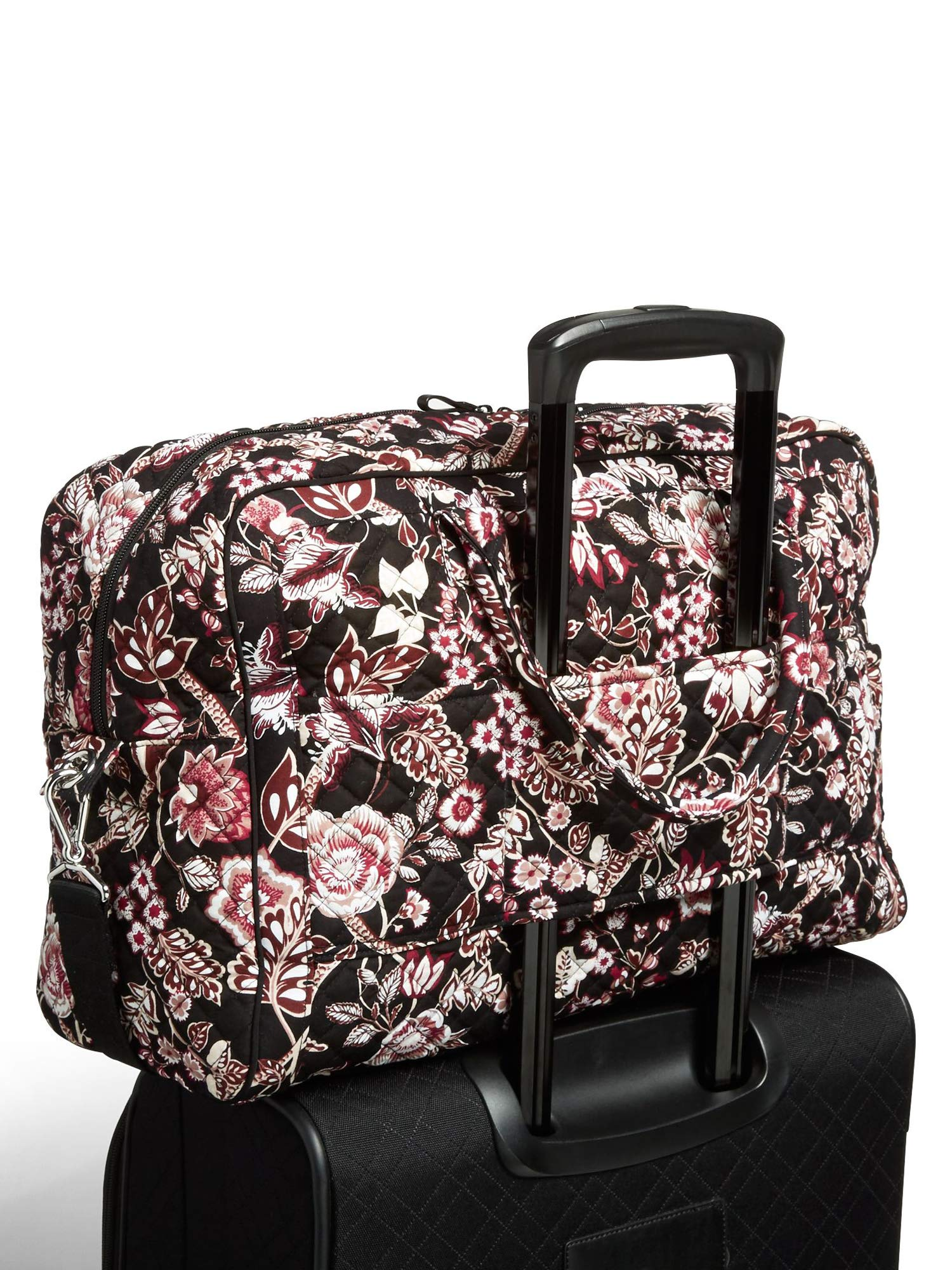 Vera Bradley Iconic Weekender Travel Bag, Signature Cotton, Desert Floral (Black/Vines Floral Neutral) by Vera Bradley (Image #5)