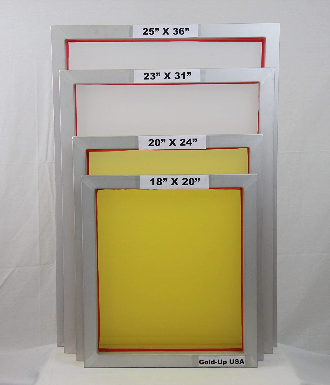 Aluminum Screen Printing Frames AL 20'' x 24'' with 230 Yellow Mesh (6 Pack) GoldUpUSAInc