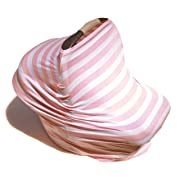 5-in-1 Baby Breastfeeding Cover, Car-Seat Cover, Shopping-Cart Cover and Trendy Scarf - Pink and White Stripe Pattern - Must-Have for Nursing Mothers & Babies