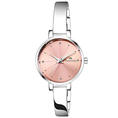 Analogue Pink Dial Silver Plated Bracelet Women's Wrist Watch