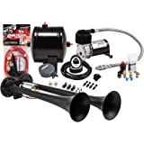 Kleinn Air Horns HK2-1 Complete Dual Truck Air Horn Package - Black