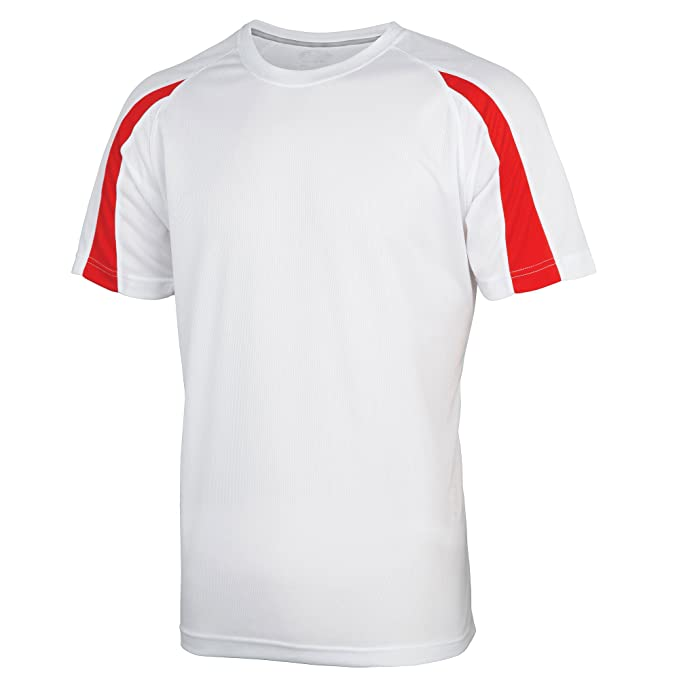4693d1bf653 Just Cool Mens Contrast Cool Sports Plain T-Shirt (S) (Arctic White