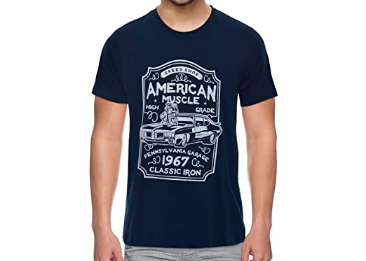 d233cdb9e THE UPMARKET STORE® Men's Tshirt | American Muscle Graphic Printed Dark  Blue T-Shirt