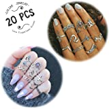 LOLIAS 20 Pcs Vintage Knuckle Ring Set for Women Girls Stackable Rings Set Hollow Carved Flowers