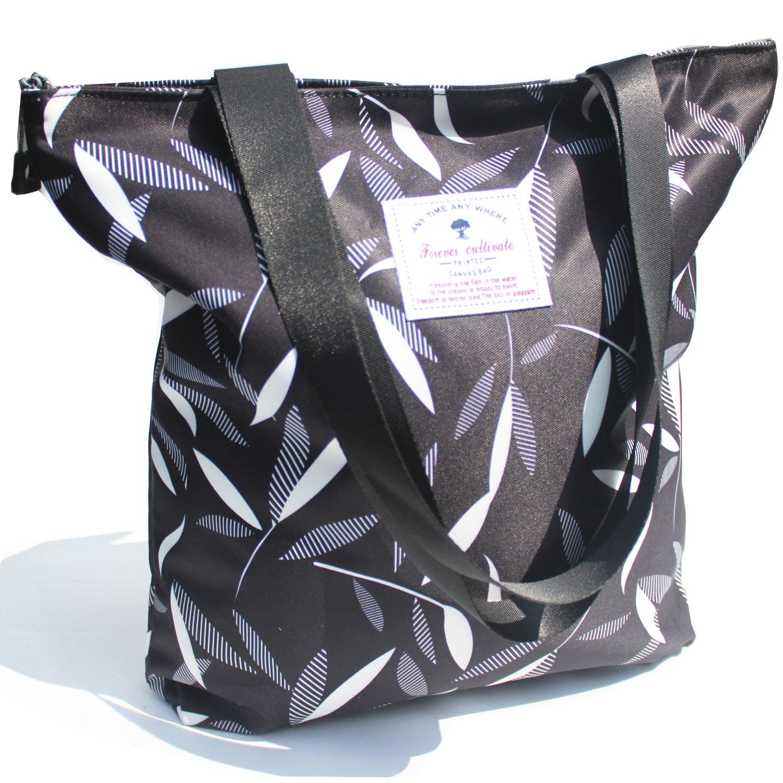 Original Floral Tote Bag Shoulder Bag for Gym Hiking Picnic Travel Beach ([B] Black Leaf)
