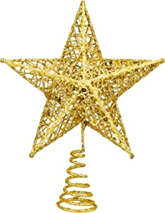EAONE 8 Inch Metal Christmas Tree Topper Gold Christmas Decoration Glittered Tree-top Star Hollow Wire Glitter Home Decor Christmas Tree Decoration for Party Home Decoration Star Ornament