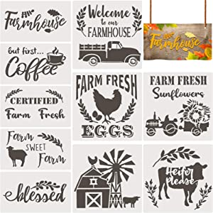 10 Pieces Farmhouse Stencils Farm Reusable Stencils Farm Theme Painting Stencils for Scrapbooking Drawing Tracing DIY Furniture Wall Floor Fabric Decors, 2 Sizes and 10 Patterns