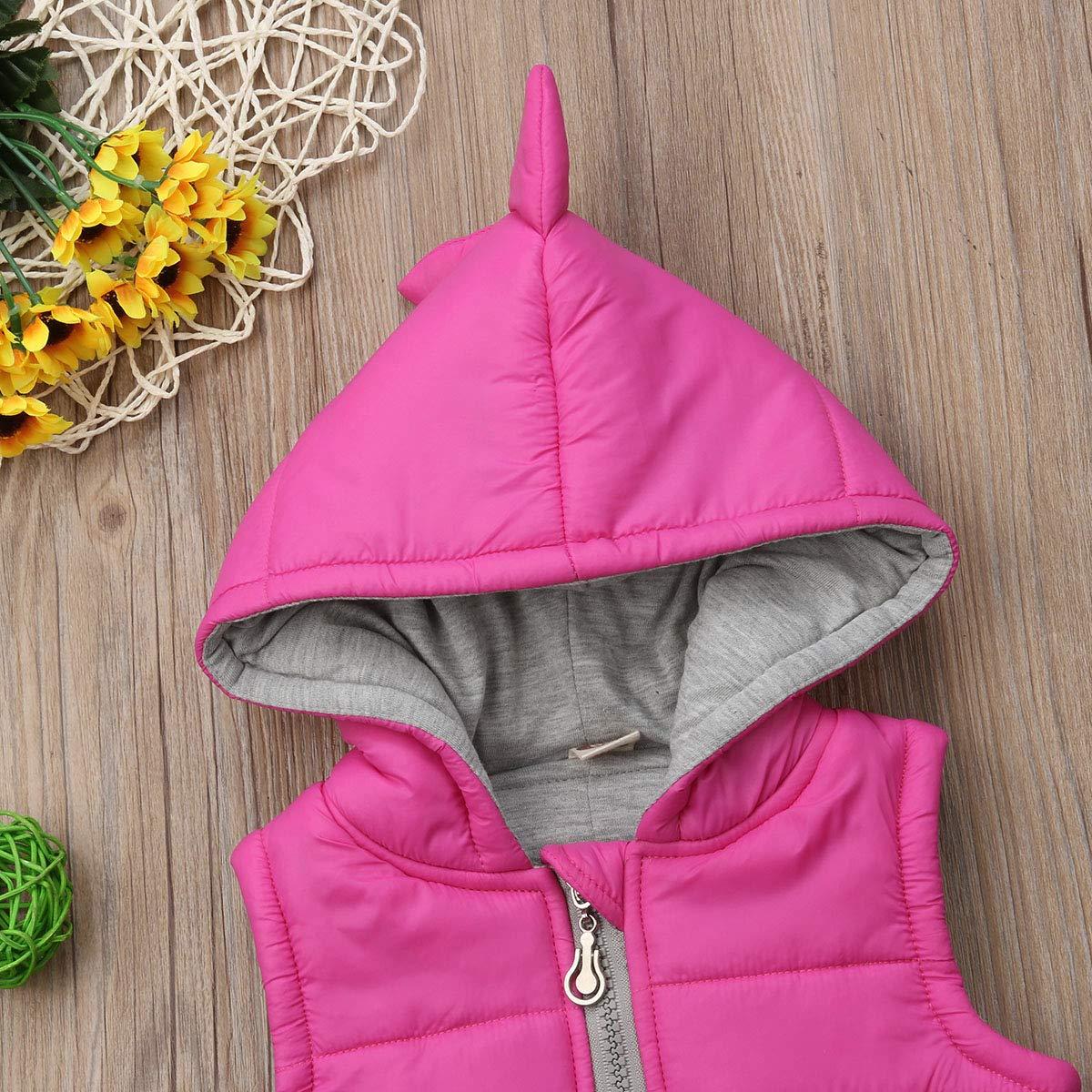 Toddler Baby Girl 3D Dinosaur Winter Waistcoat Cute Kid Princess Cotton-Padded Warm Jacket Hoodies Vest Outwear