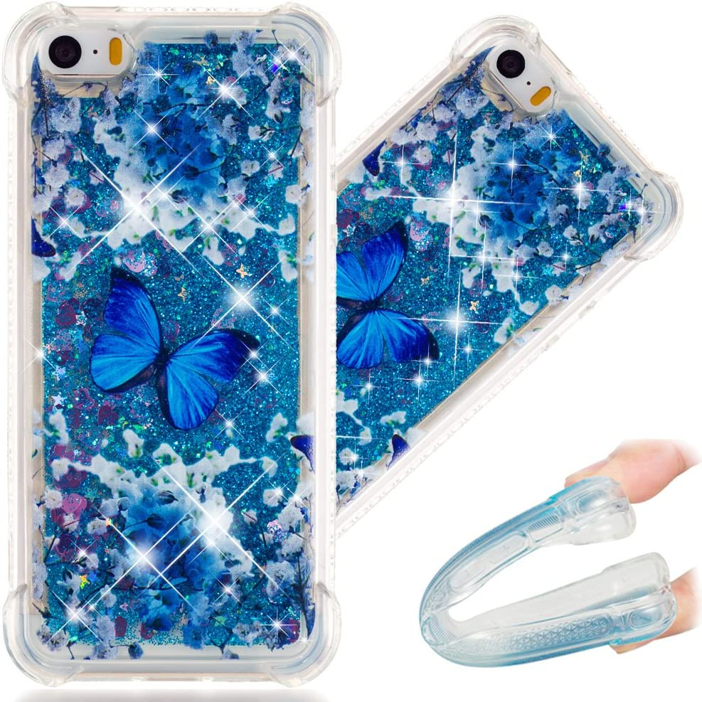 COTDINFORCA iPhone 5S Case, 3D Cute Painted Glitter Liquid Sparkle Floating Bling Quicksand Shockproof Protective Bumper Silicone Case Cover for Apple iPhone SE / 5 5S. Liquid - Blue Butterfly