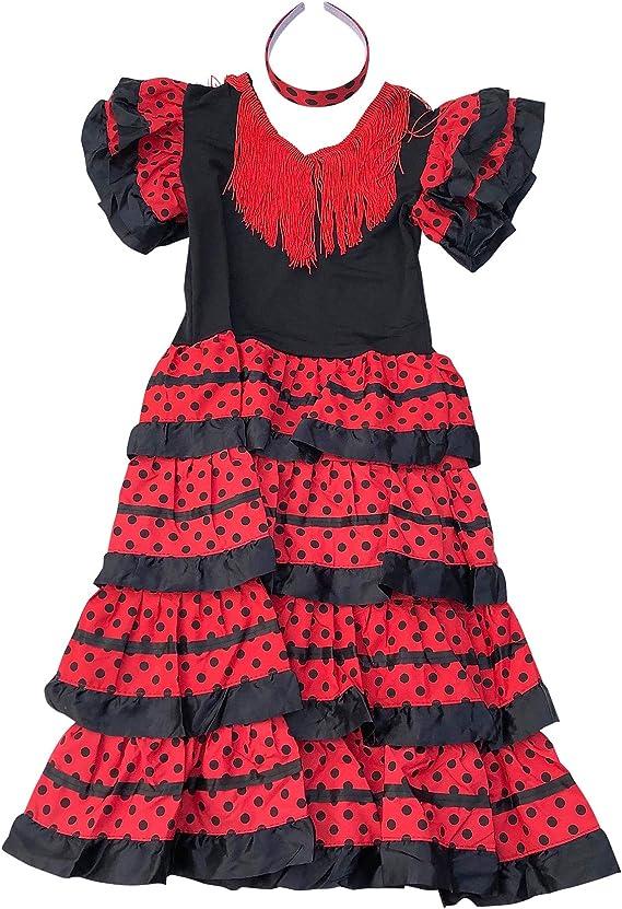 La Senorita - Disfraz de Flamenco, para niñas/niños, Color Negro y Rojo (Tallas 104-110, Longitud 75 cm, 5-6 años), Incluye Diadema: Amazon.es: Juguetes y juegos
