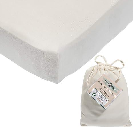 Sábana ajustable de algodón 100% orgánico, 2en1: 60x120cm a 70x140cm (extra suave y grueso). Sábana ajustable para cama de bebé y de niño (certificada GOTS, Oeko-tex) (Blanco): Amazon.es: Bebé
