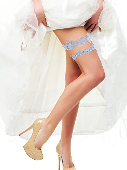 a24e79c045c Amazon.com  BBTO 2 Pieces Flower Leaf Style Garter Wedding Garter Bridal  Garter Stretch Garter Belt (Blue)  Clothing