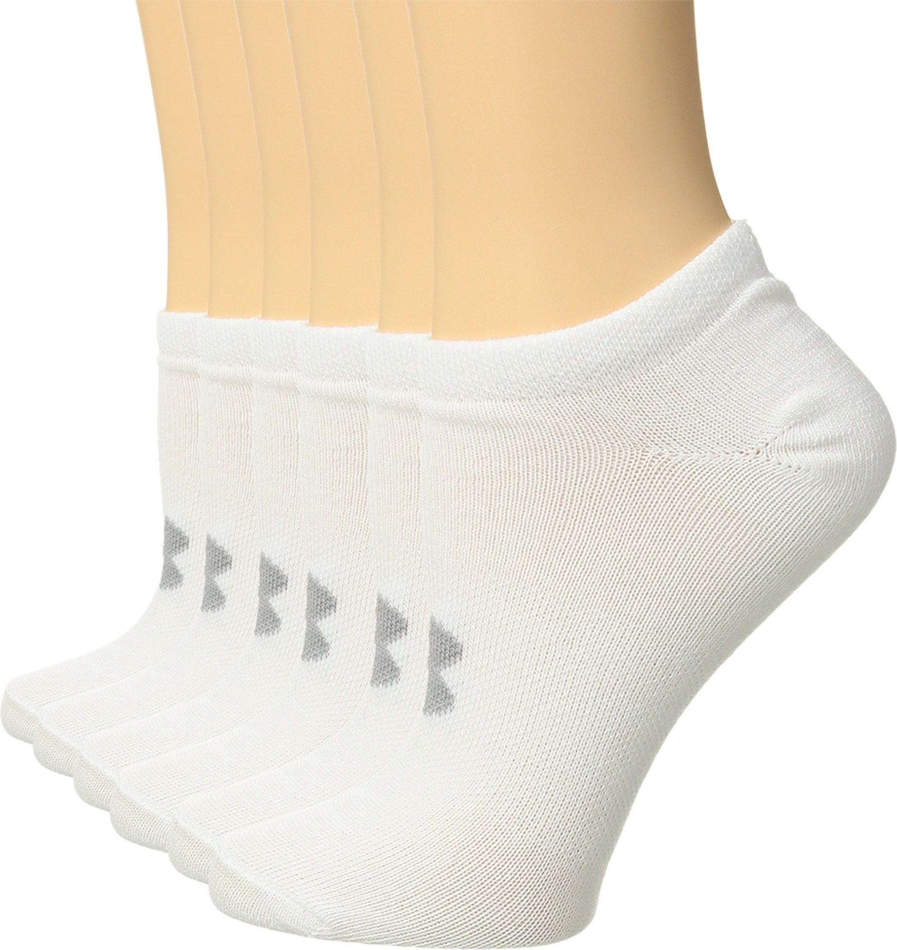 Under Armour Women's Essential No Show Socks (6 Pack), White (1259396-102) / Anthracite/White, Medium by Under Armour