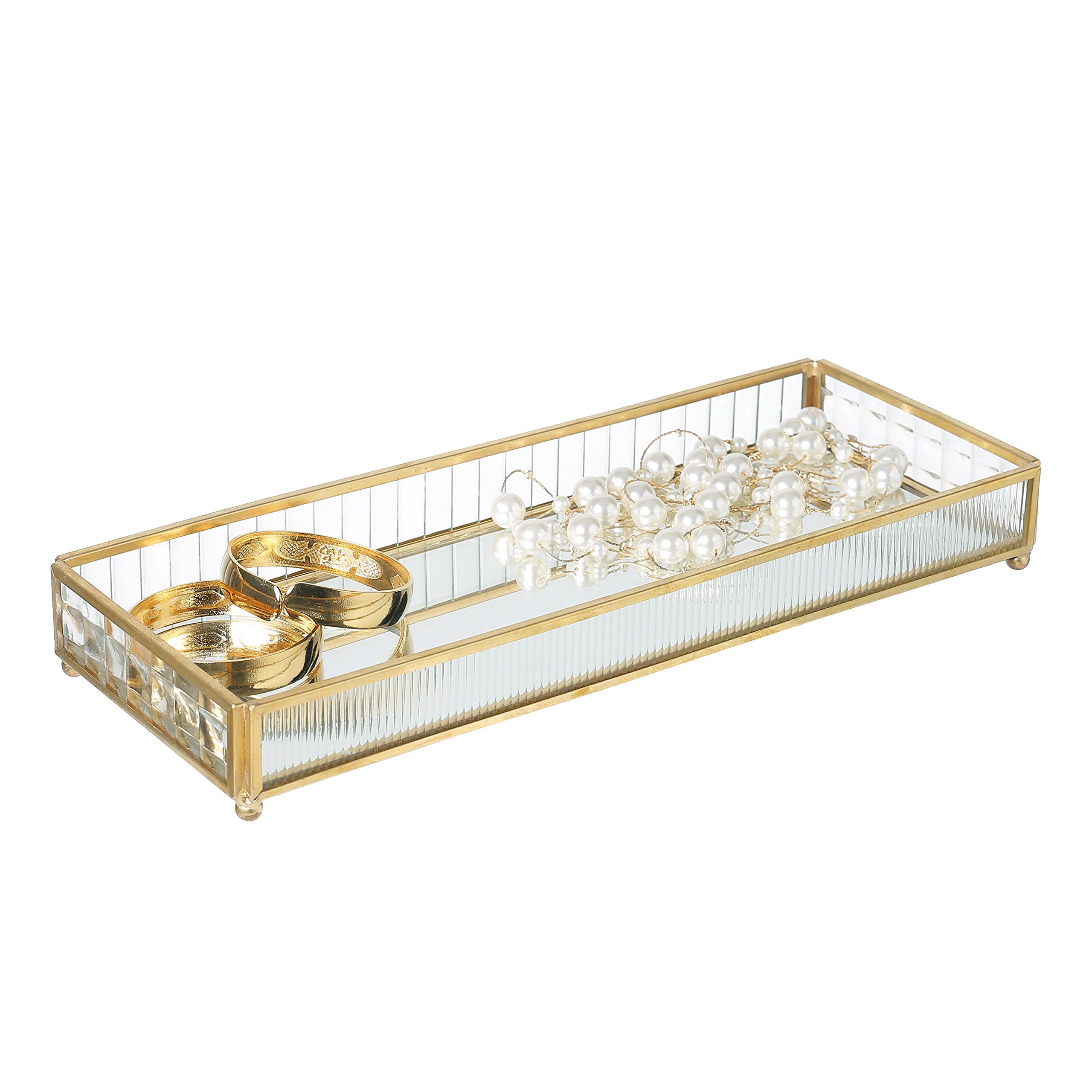 Rectangular Vintage Glass Jewelry Tray with Brass Trim and Mirror Base