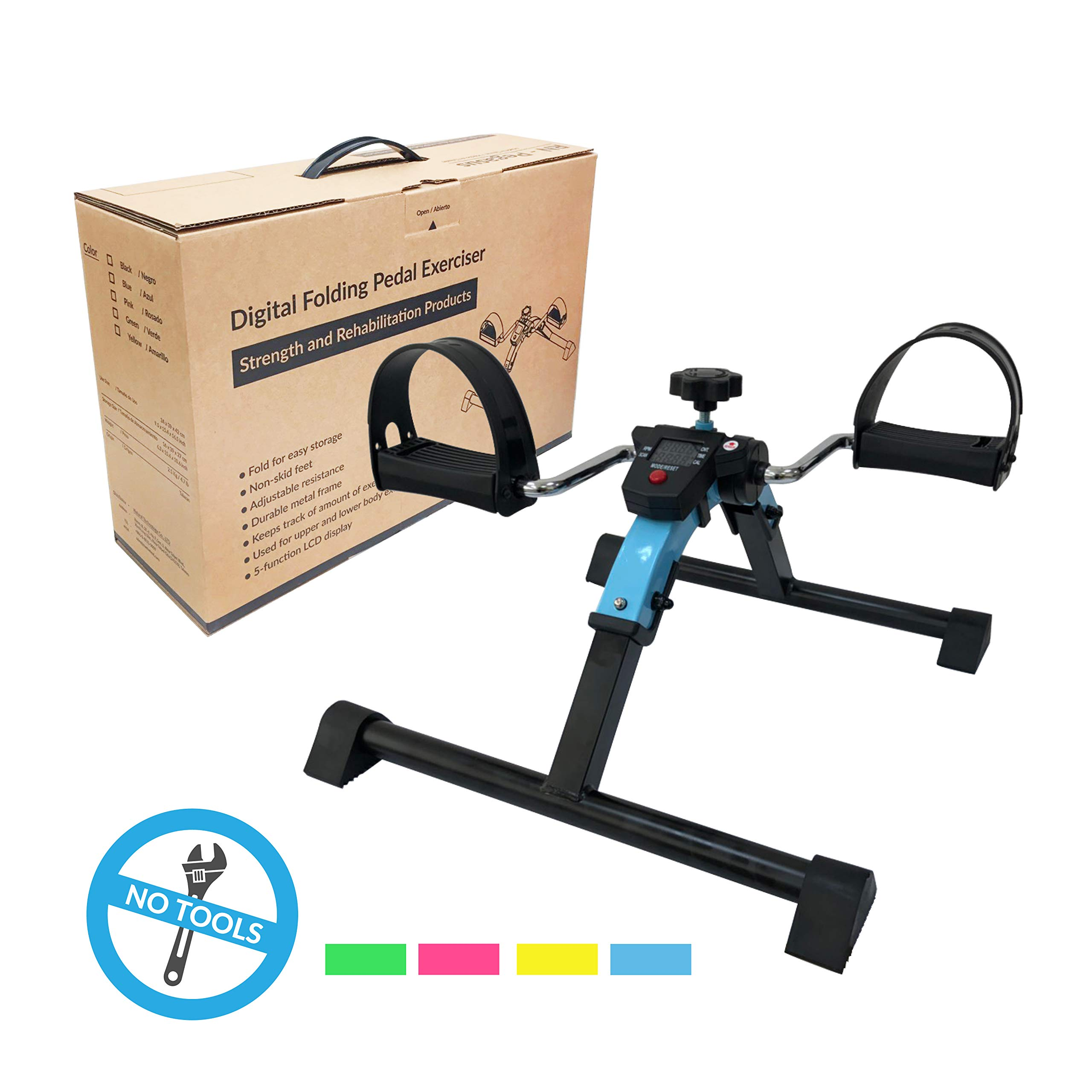 Portable Pedal Exerciser for Leg and Arm, with LCD Display, Mini Folding Exercise Bike Suitable for Home Fitness Resistance Cycle Training Workout (Cyan)